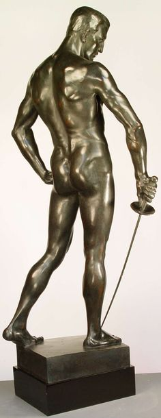 "Hugo Lederer ( German, 1871-1940) ""Der Fechterbrunnen"". The Swordsman by Hugo Lederer is the iconic male sculpture that exists at the Breslau University cast in 1901."