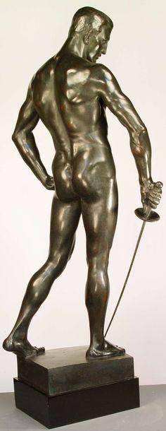"""Hugo Lederer ( German, 1871-1940) """"Der Fechterbrunnen"""". The Swordsman by Hugo Lederer is the iconic male sculpture that exists at the Breslau University cast in 1901."""