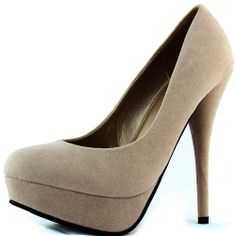 Women's Top Moda Special-35 Taupe Color Almond Stiletto Pumps Shoes, Taupe , 8