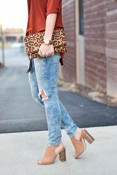 Distressed denim, block heel, leopard clutch