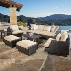 Portofino Comfort 7-piece Deep Seating Set in Espresso costco