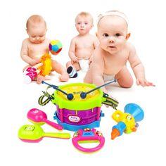 Baru Kedatangan 5 pcs Gulung Drum Alat Musik Band Kit Anak Pendidikan Anak Bayi Mainan Bayi Anak Hadiah Set Gratis pengiriman