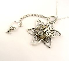 Steampunk Flower Necklace - Goth / Cosplay mechanical watch movement flower butterfly keys pendant