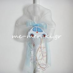 Λαμπάδες με χειροποίητο στολισμό , αυτοκινητάκι από τσόχα, σεταρισμένο με την μπομπονιέρα ΥΦ022 www.me-meraki.gr  la05_lampada_vaptisis_autokinito Meraki, Light Bulb Vase