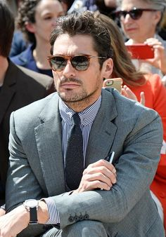 David Gandy sitting front row at the Burberry Menswear Spring/Summer 2016 show at Kensington Gardens on June 15, 2015