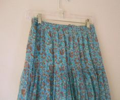 ON SALE........Vintage blue Bohemian floral print INDIA Skirt