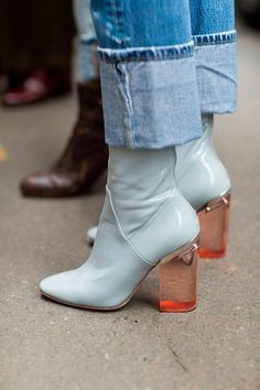baby blue booties with a lucite heel for a perfect statement shoe