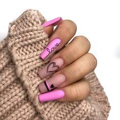 valentinesday roses Be My Valentine! Nagellack Design, Nagellack Trends, Pink Acrylic Nails, Gel Nails, Pink Nail Art, Coffin Nails, Bling Nails, Swag Nails, Grunge Nails