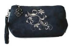 embroidered micro suede clutch