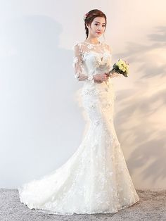 Wedding Dresses Long Sleeve Mermaid Flowers Applique Bows Ivory Bridal Dress With Train   Newarrivaldress.com Beautiful Bridal Dresses, Long Wedding Dresses, Elegant Wedding Dress, Corsage, Wedding Flowers Cost, Mismatched Bridesmaid Dresses, Plus Size Wedding, Special Occasion Dresses, Marie