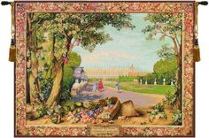 Woven in France History: Versailles III is a jacquard wall tapestry. it's foreground is a reproduction of a renowned Gobelins' tapestry, L'automne, or Autumn, b