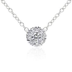 Bloom Pendant - Bloom diamond necklet with heart shape accents. Crafted in 18ct white gold. Length of posy 7mm. Chain included.