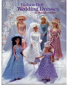 Barbie Fashion Doll Wedding Dresses Crochet Doll Pattern Book 1108 American School of Needlework.