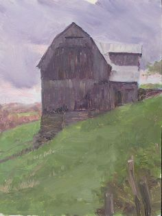 """Old Barn and Stormy Sky by  Prentice Studio Oil ~ 12"""" x 9"""""""