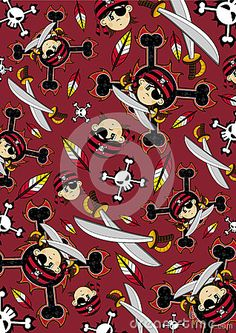 Eye Patch Pirate Crewman Cartoon Character with Crossed Swords - Vector Illustration.     An EPS file is also available.