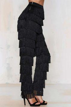 Lavish Alice x Lindsay Lohan High Gear Fringe Pants - Clothes | Party Shop | Wide Leg + Flare