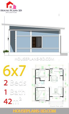 Simple House Plans with 2 bedrooms Shed Roof - House Plans Simple House Plans, Simple House Design, Tiny House Plans, Tiny House Design, House Floor Plans, Small Bathroom Floor Plans, Bathroom Layout Plans, Small House Layout, House Layouts