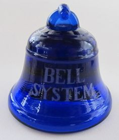 Vintage Bell Telephone Bell System Cobalt Blue Glass Paperweight, Circa 1930s.  Sure wish I could find one of these!
