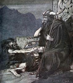 """Swear to me, Hagen, my son!"" (1911), by Arthur Rackham (1867-1939), from Act 2 of Götterdämmerung (1874), by Richard Wagner (1813-1883)."