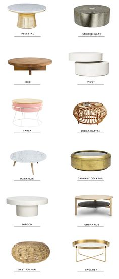 12 round coffee tables