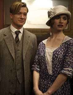 Ed Speleers as James 'Jimmy' Kent and Lily James as Lady Rose MacClare in Downton Abbey (TV Series, 2013). ..rh
