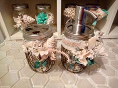 Mason Jar Soap Dispenser with Fishnet, Shells and Matching Toothbrush Holder…