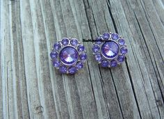 Set of 2 Purple Rhinestone Buttons by BlueMonsterSupplies on Etsy
