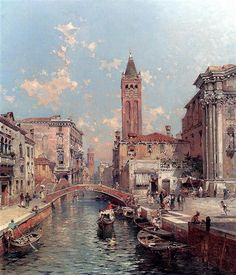Rio Santa Barnaba, Venice by Franz Richard Unterberger. Romanticism. cityscape. Private Collection