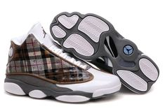 Jordan Shoes Air Jordan 13 Plaid White Grey Brown Black [Air Jordan 13 - Definitely these are very unique and attractive Air Jordan 13 Plaid White Grey Brown Black shoes showed in the picture. With the plaid pattern, the side panels offer the Air Jord Jordan 13 Shoes, Michael Jordan Shoes, Nike Air Jordan Retro, Nike Air Max, Basketball Shoes For Men, Custom Jordans, Nike Free Runners, Fresh Shoes, Retro Shoes