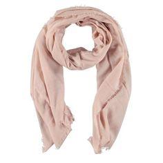 Lichtroze zachte sjaal met rafelfranje