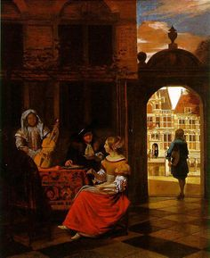 Pieter de Hooch A Musical Party in a Courtyard, 1677 Olio su tela, x cm National Gallery, London Classic Paintings, European Paintings, Rembrandt, Delft, Pieter De Hooch, Art Ancien, Johannes Vermeer, Dutch Golden Age, Baroque Art