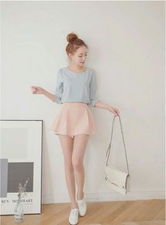 pastel blue long sleeve top x pastel pink skirt x white sling bag x white slip ons