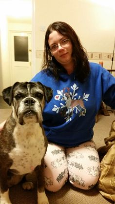 Deena looking pretty for a treat. Me wearing my Christmas boxer jumper
