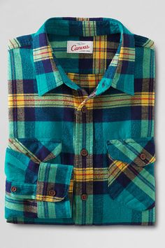 LOVE IT-Men's Patch and Flap Flannel Shirt from Lands' End