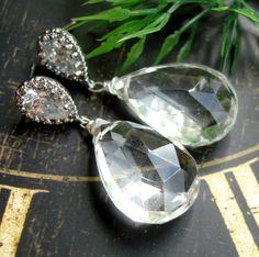 Crystal bridal earrings -natural gemstone http://madebysam.ca/earring.html