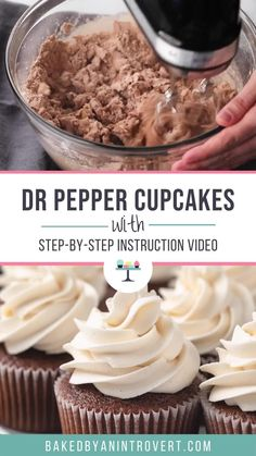 These Dr Pepper Cupcakes made with a tender chocolate buttermilk batter and are topped with silky Dr Pepper frosting! Peanut Butter Dessert Recipes, Dessert Recipes For Kids, Chocolate Chip Recipes, Paleo Chocolate, Dr Pepper Cupcakes, Dr Pepper Cake, Creme, Stuffed Peppers, Grain Free