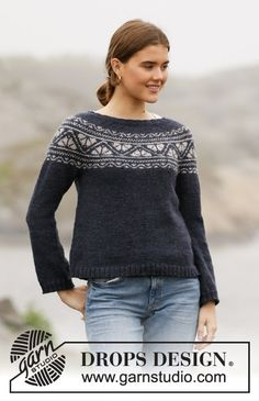 Nordic - Free knitting patterns and crochet patterns by DROPS Design Drops Design, Knitting Patterns Free, Free Knitting, Crochet Patterns, Drops Karisma, Icelandic Sweaters, Fair Isle Pattern, How To Purl Knit, Work Tops