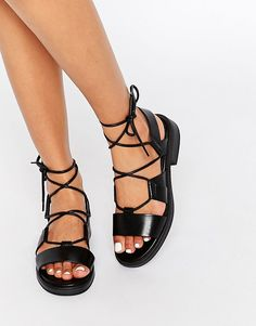 Image 1 ofVagabond Ivy Black Leather Gladiator Sandals