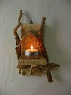 Unique Driftwood Candle Shelf Shabby Chic Handmade Wall Hanging Rustic Sconce  nauticaloceans.co.uk