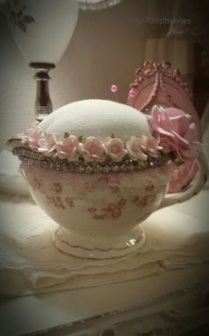 Teacup repurposed into a pin cushion