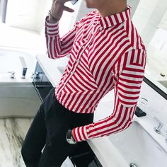 Men's Shirts Striped Plus Size Shirts Blue Red – LeStyleParfait. Formal Shirts For Men, Casual Shirts, Men's Shirts, Preppy Fall Fashion, Mens Fashion, Moda Casual, Fashion Clothes Online, Plus Size Shirts, Shirt Style