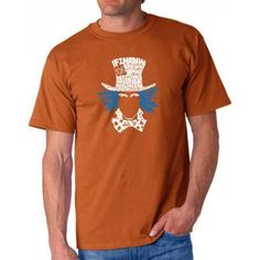 Los Angeles Pop Art Men's T-shirt - The Mad Hatter, Size: Medium, Orange