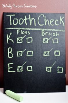 """DIY """"Tooth Check"""" Oral Hygiene Board for kids, or people obsessed with teeth... you know..."""