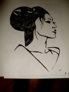 stencil art  geisha