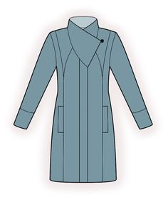 Coat With Shaped Collar Stand - Sewing Pattern #4384