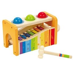Pound and Tap Bench by Hape Toys. Pounding sends the balls tinkling over the xylophone. Pull out the keyboard and the xylophone can be played solo. Toddler Toys, Kids Toys, Toddler Gifts, Toddler Stuff, Girl Toddler, Kids Gifts, Kid Stuff, Baby Gifts, Wooden Musical Instruments