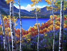 Unique Tree Painting | description: A lake of deep saffire rests at the base of the Rocky ...