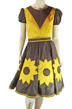Sunflower Square Dance Dress Vintage 50s House Wife Halloween Theater Costume #HomeSewn