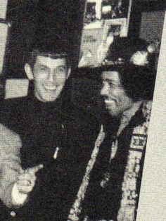 How cool is this, I bear the first name of Leonard thanks to Leonard Nimoy and I played Jimi Hendrix in Why Do Fools Fall In Love. It's awesomely cool to see a picture of Leonard Nimoy and Jimi Hendrix together. Leonard Nimoy, Star Trek Tos, Star Wars, Akira, The Ventures, Legendary Pictures, Jimi Hendrix Experience, Rockn Roll, Music Icon