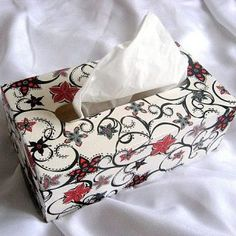 Flori abstracte culori rosu si negru pe fond alb, cutie servetele Reusable Tote Bags, Abstract, Summary